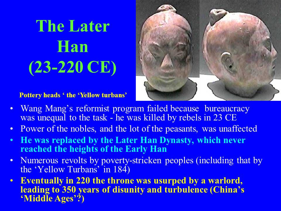 The Later Han (23-220 CE) Pottery heads ' the 'Yellow turbans'