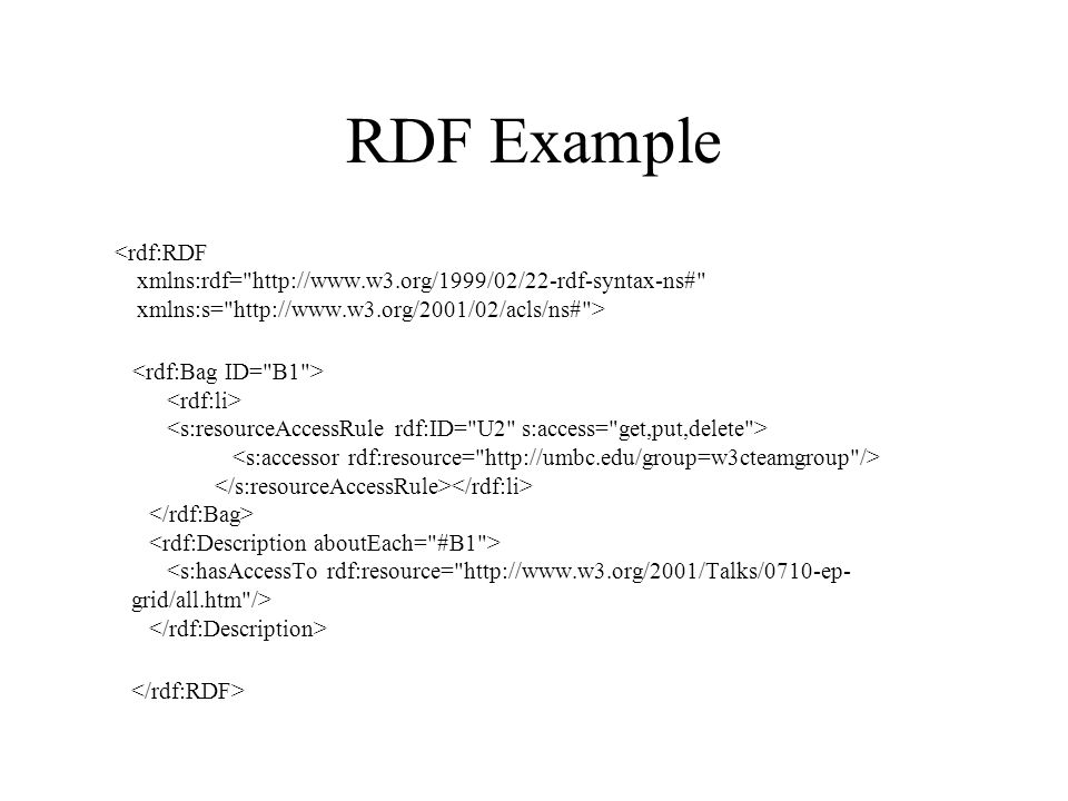 RDF Example <rdf:RDF xmlns:rdf= http://www.w3.org/1999/02/22-rdf-syntax-ns# xmlns:s= http://www.w3.org/2001/02/acls/ns# >