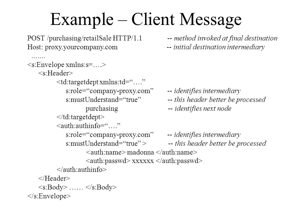 Example – Client Message
