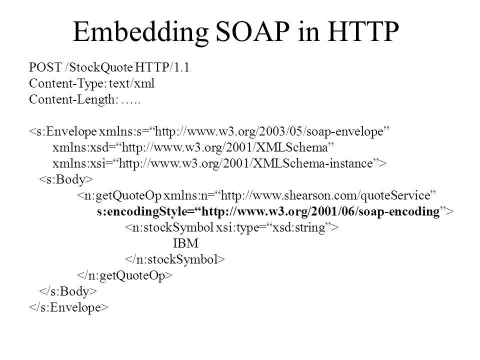 Embedding SOAP in HTTP POST /StockQuote HTTP/1.1