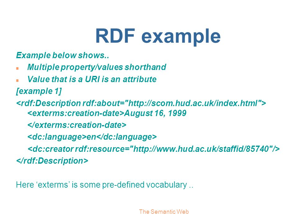 RDF example Example below shows.. Multiple property/values shorthand