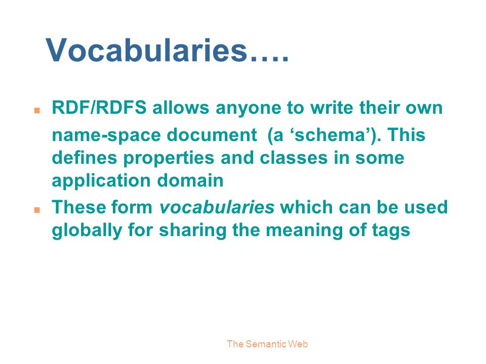 Vocabularies…. RDF/RDFS allows anyone to write their own