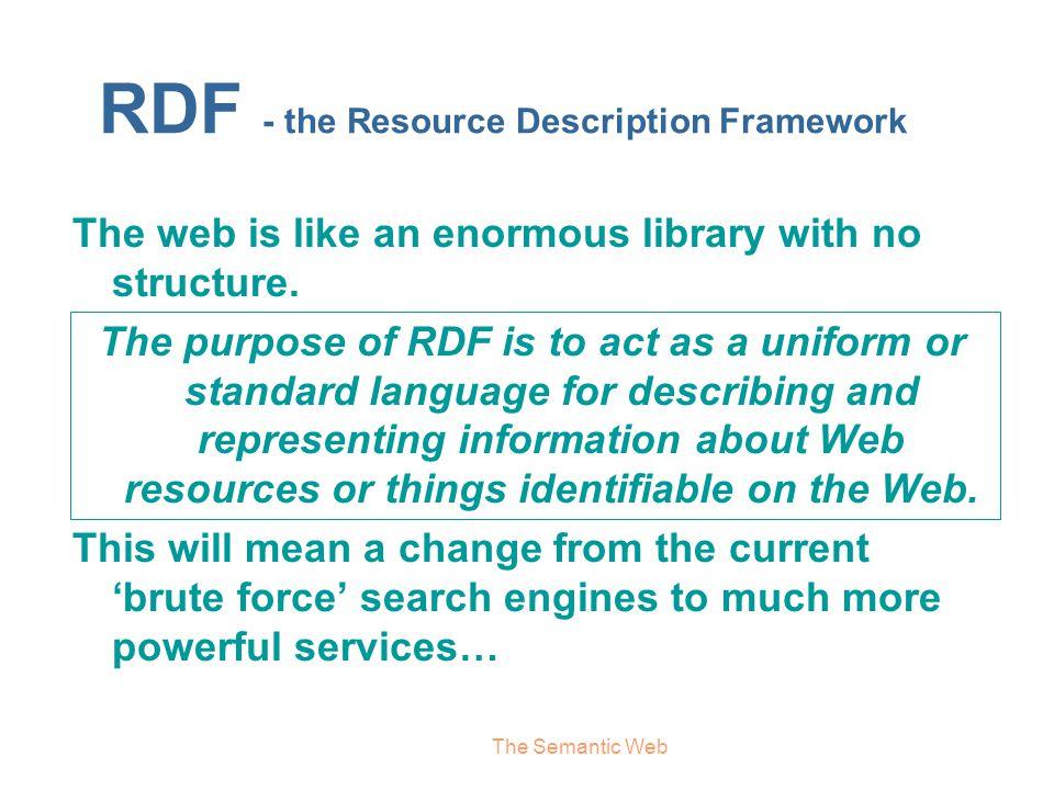 RDF - the Resource Description Framework