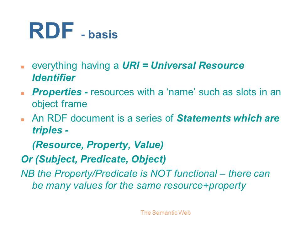 RDF - basis everything having a URI = Universal Resource Identifier