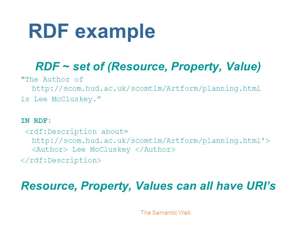 RDF example RDF ~ set of (Resource, Property, Value)