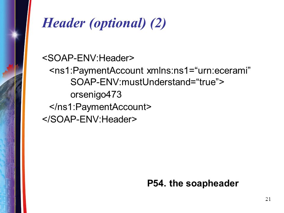 Header (optional) (2) <SOAP-ENV:Header>