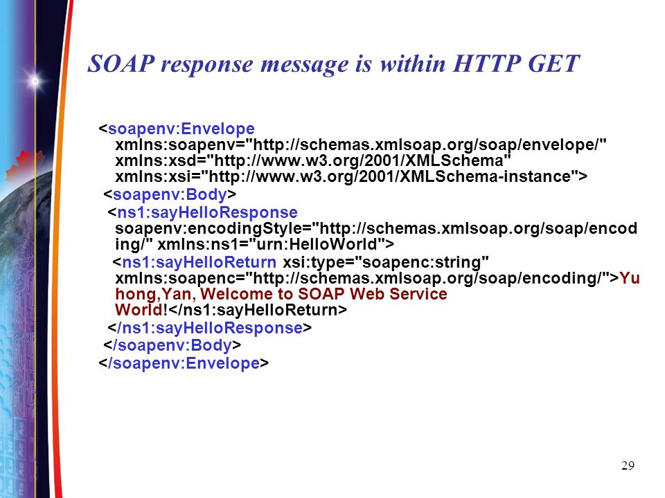 SOAP response message is within HTTP GET