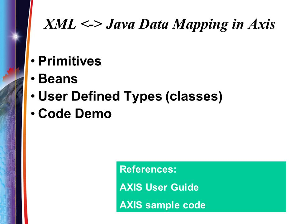 XML <-> Java Data Mapping in Axis