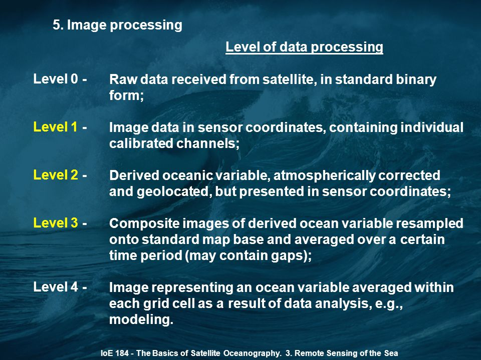 Level of data processing