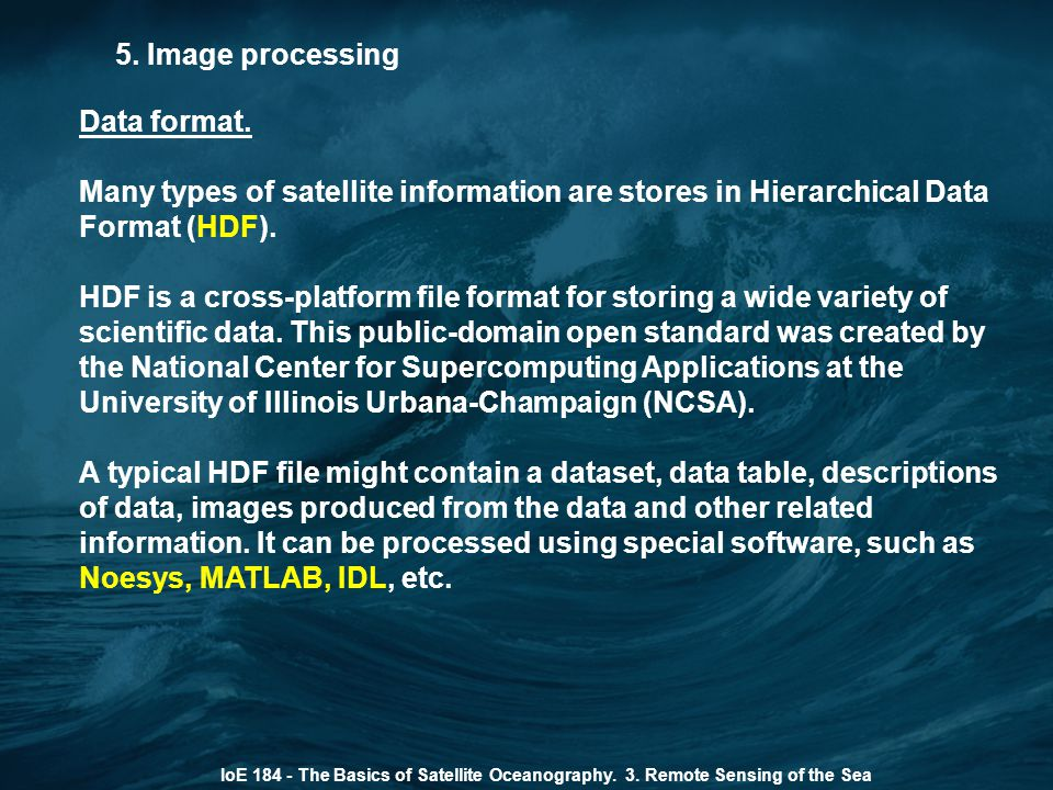 5. Image processing Data format.