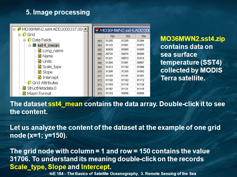 5. Image processing MO36MWN2.sst4.zip contains data on sea surface temperature (SST4) collected by MODIS Terra satellite.