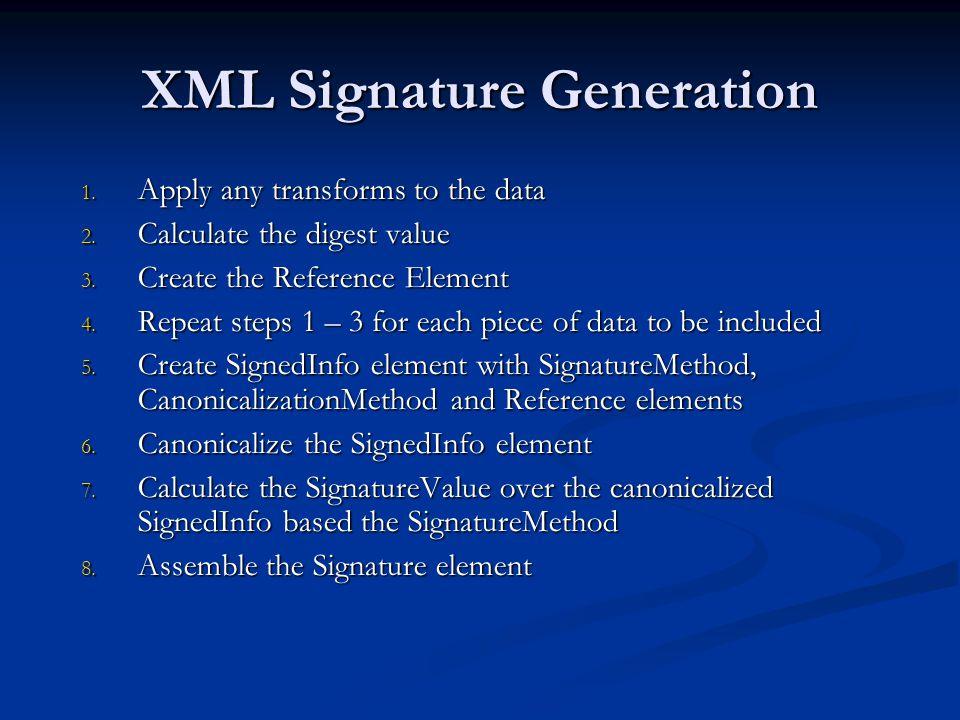XML Signature Generation