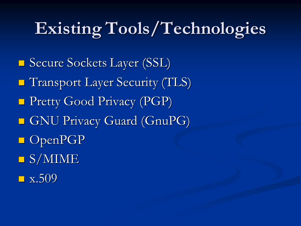 Existing Tools/Technologies