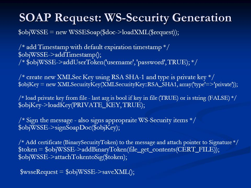 SOAP Request: WS-Security Generation