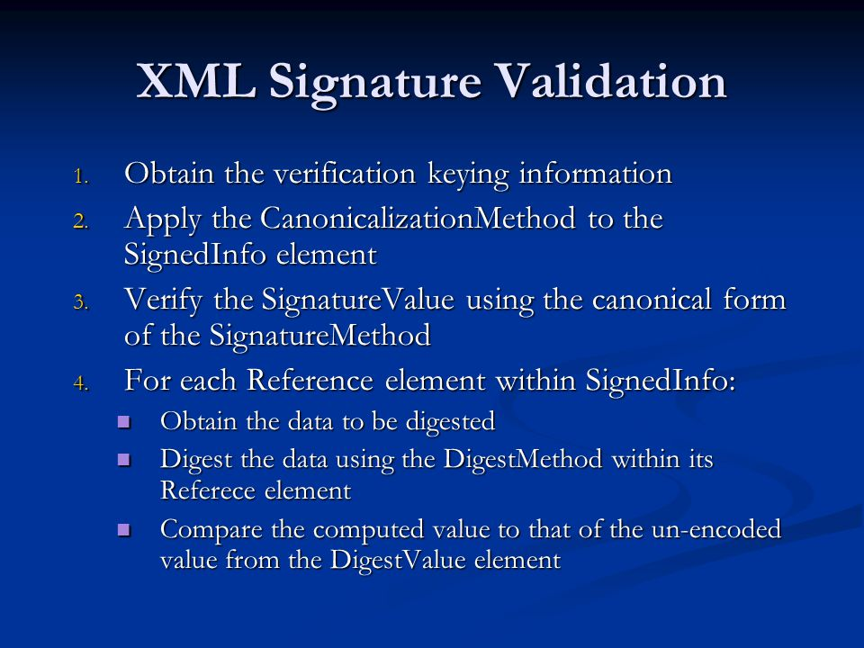 XML Signature Validation
