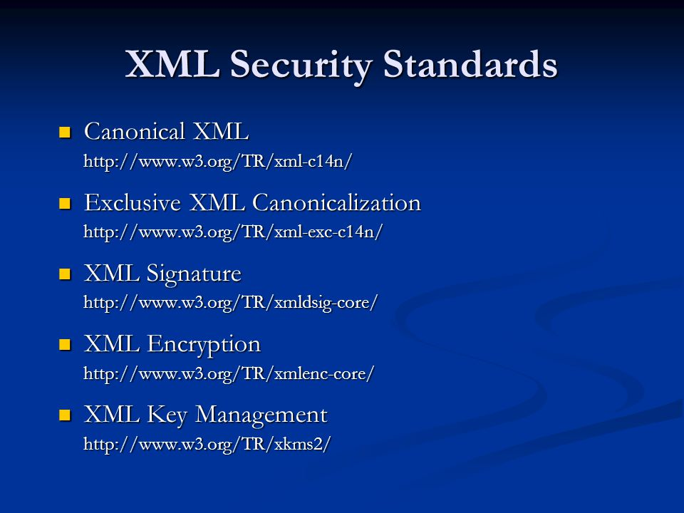 XML Security Standards