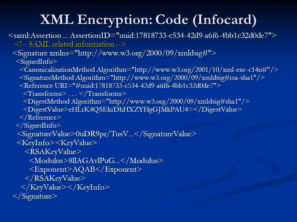 XML Encryption: Code (Infocard)