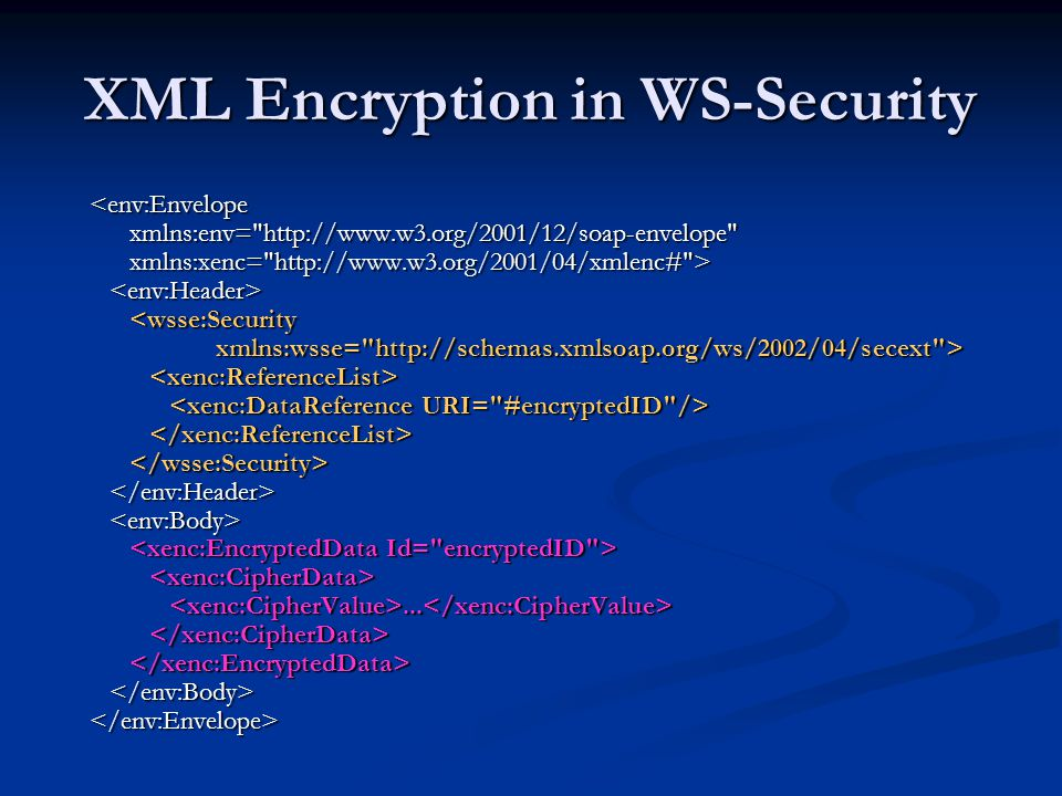XML Encryption in WS-Security