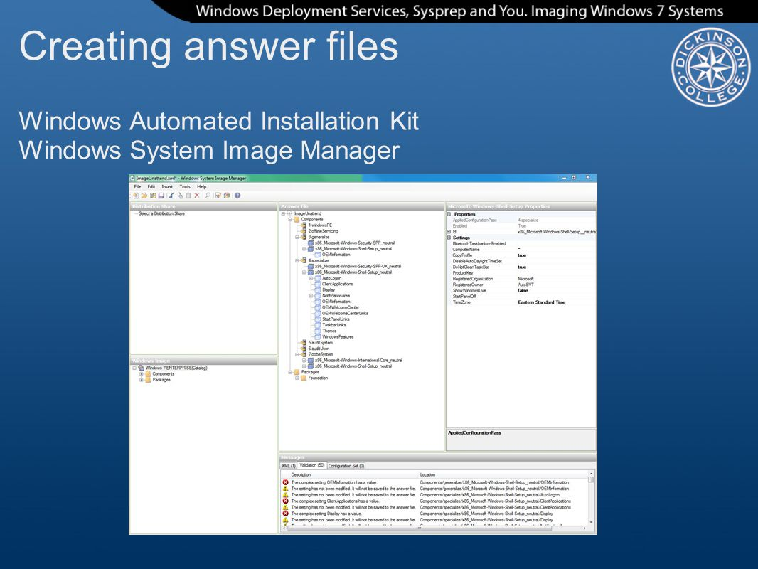 Creating answer files Windows Automated Installation Kit