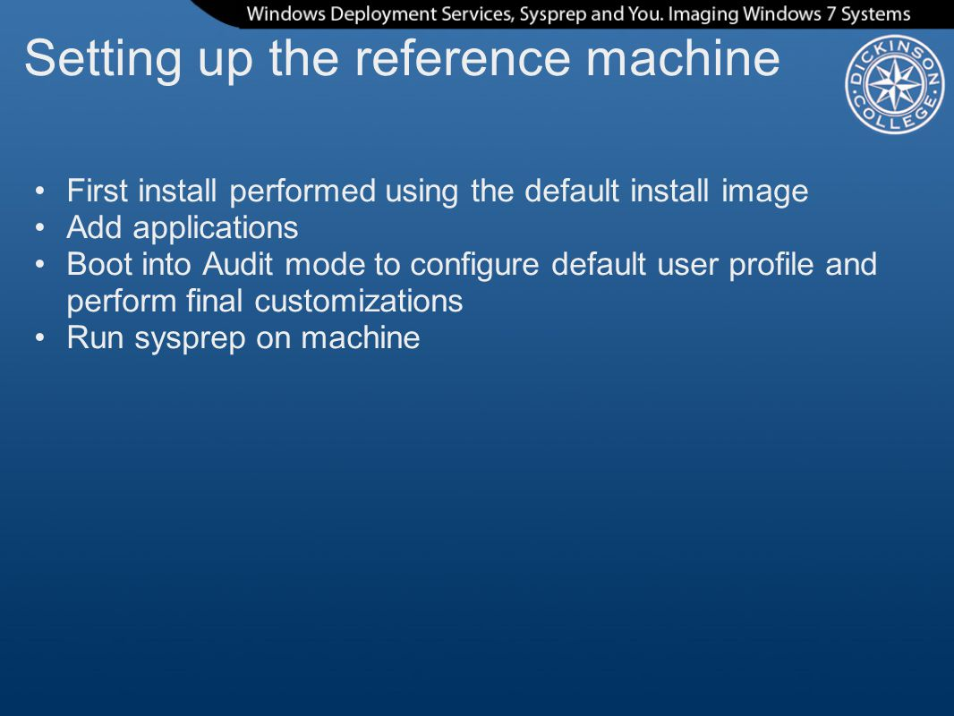 Setting up the reference machine