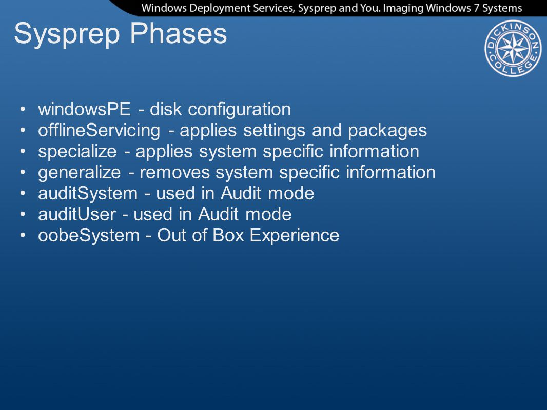 Sysprep Phases windowsPE - disk configuration