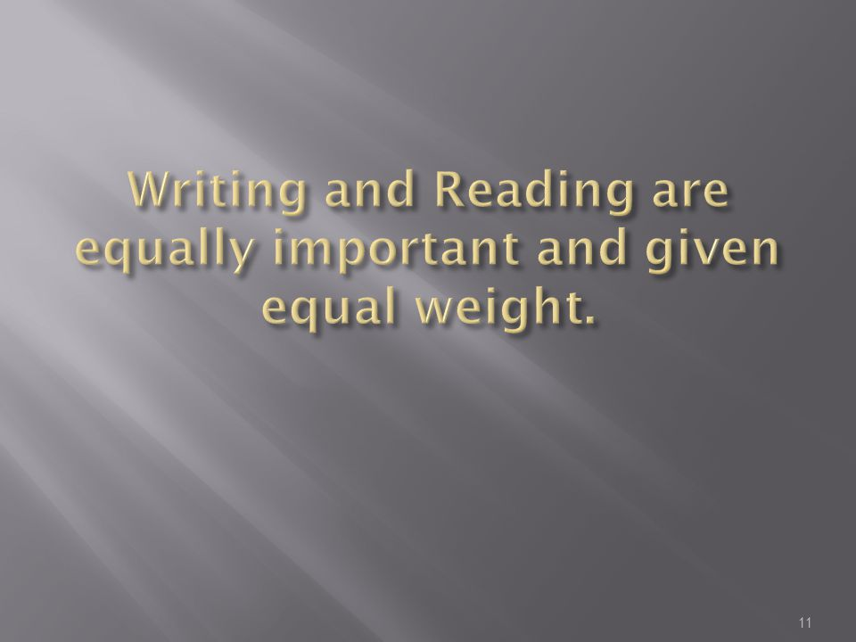 Writing and Reading are equally important and given equal weight.