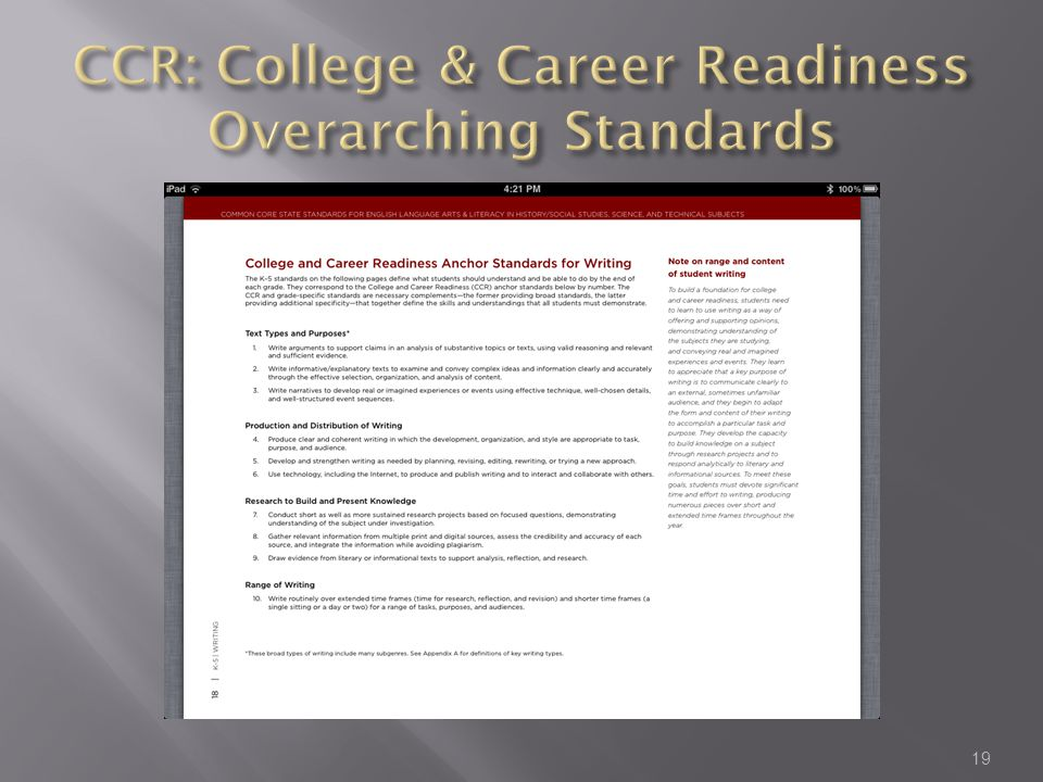 CCR: College & Career Readiness Overarching Standards