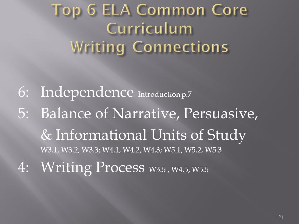 Top 6 ELA Common Core Curriculum Writing Connections
