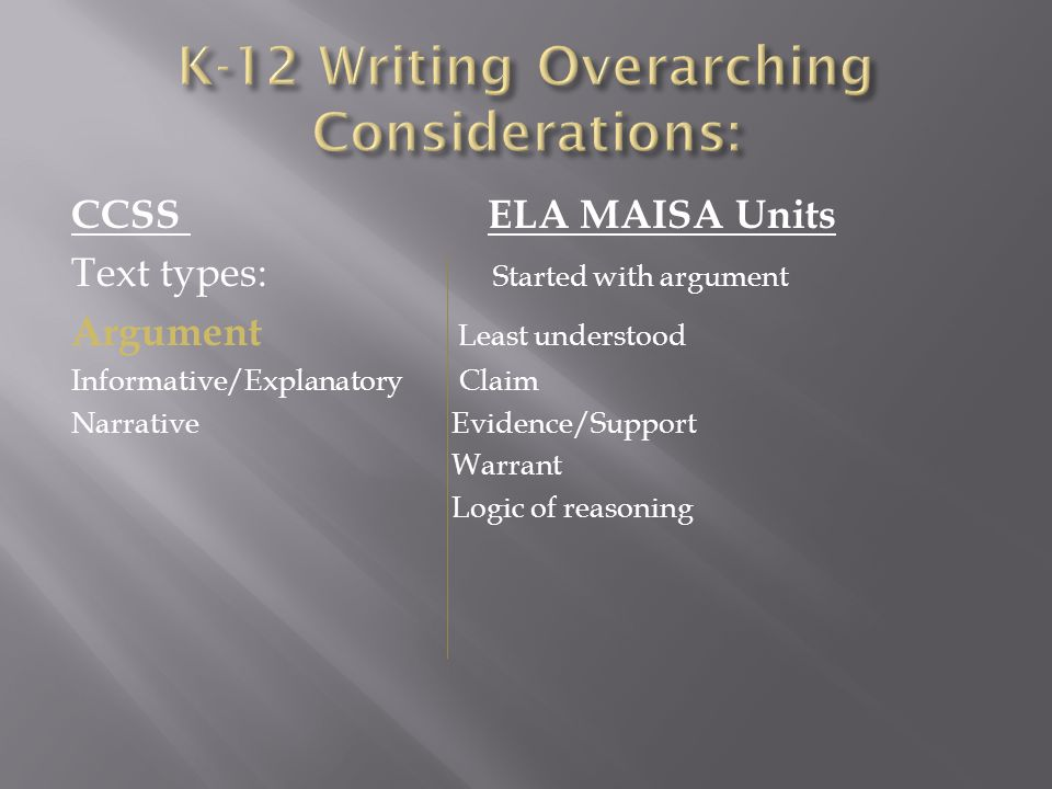 K-12 Writing Overarching Considerations: