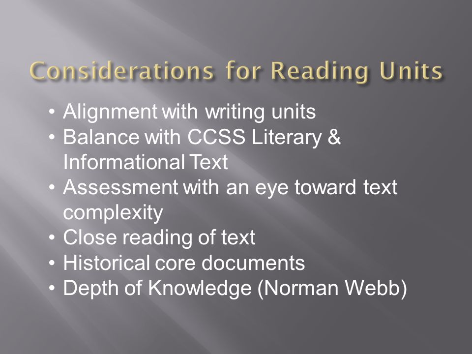 Considerations for Reading Units