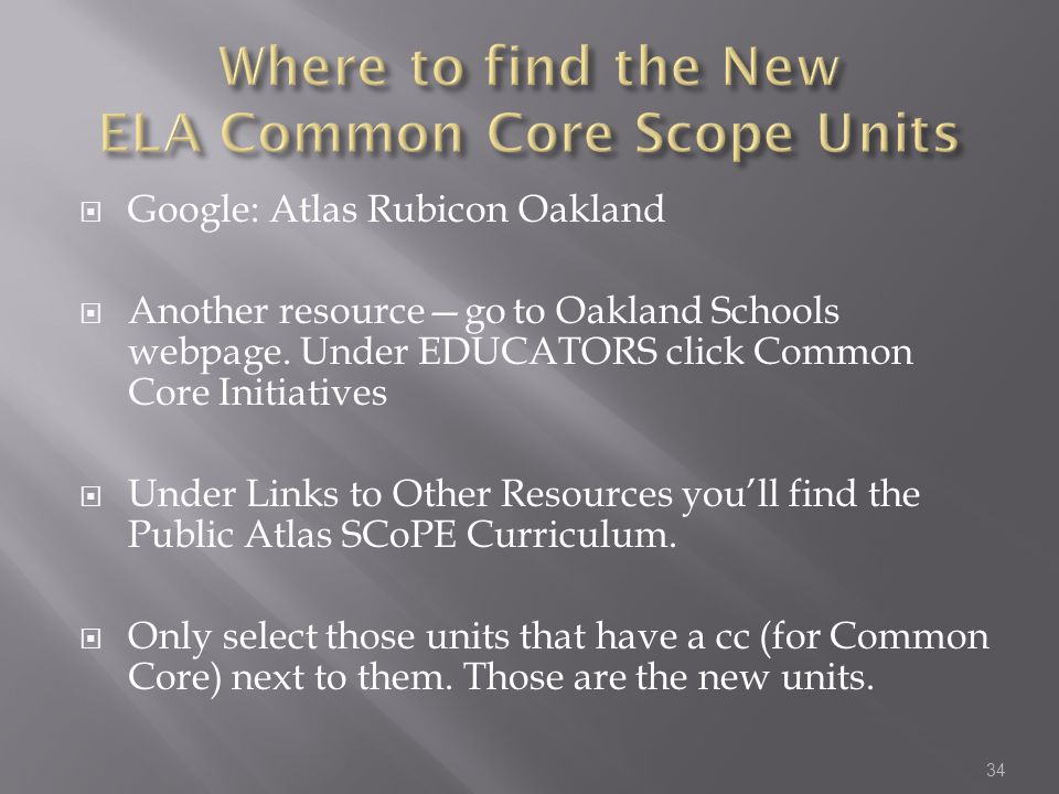 Where to find the New ELA Common Core Scope Units