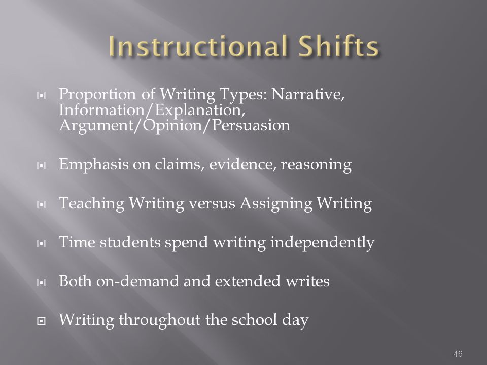 Instructional Shifts Proportion of Writing Types: Narrative, Information/Explanation, Argument/Opinion/Persuasion.