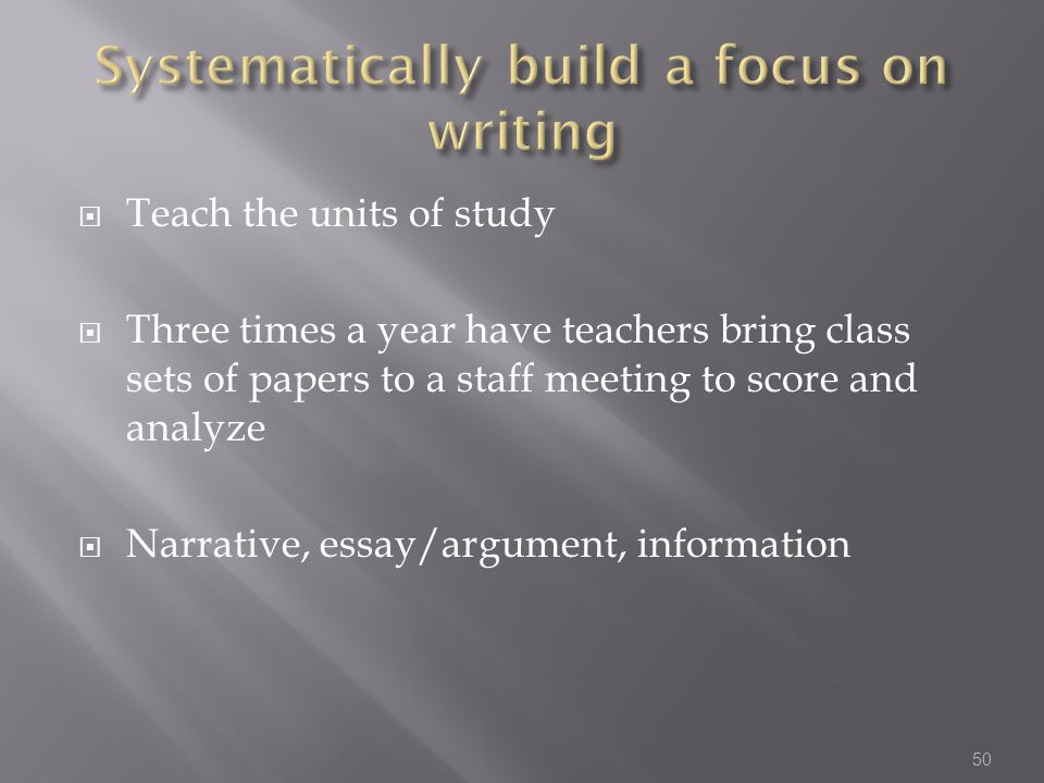 Systematically build a focus on writing