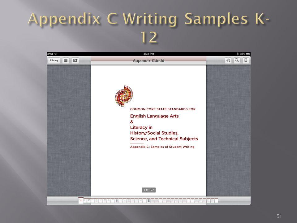 Appendix C Writing Samples K-12