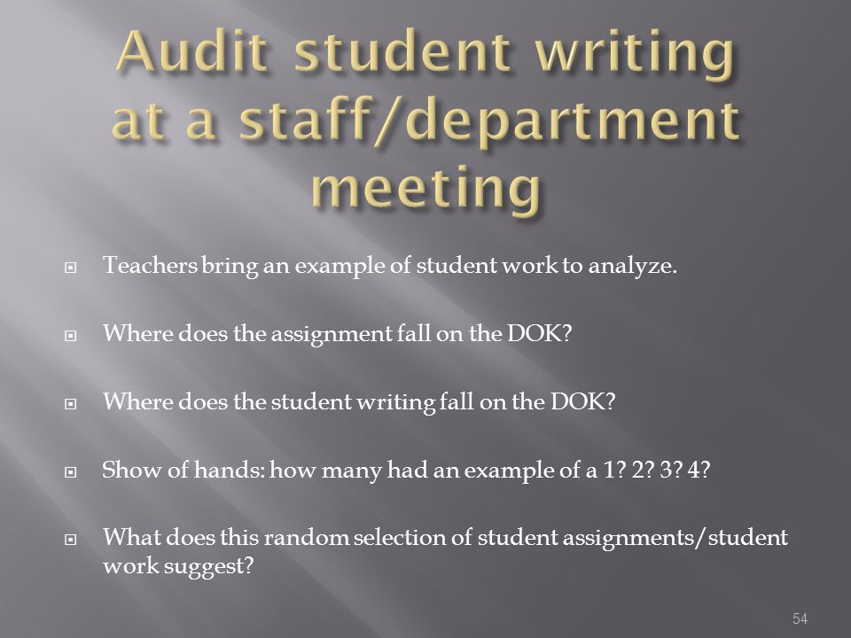 Audit student writing at a staff/department meeting