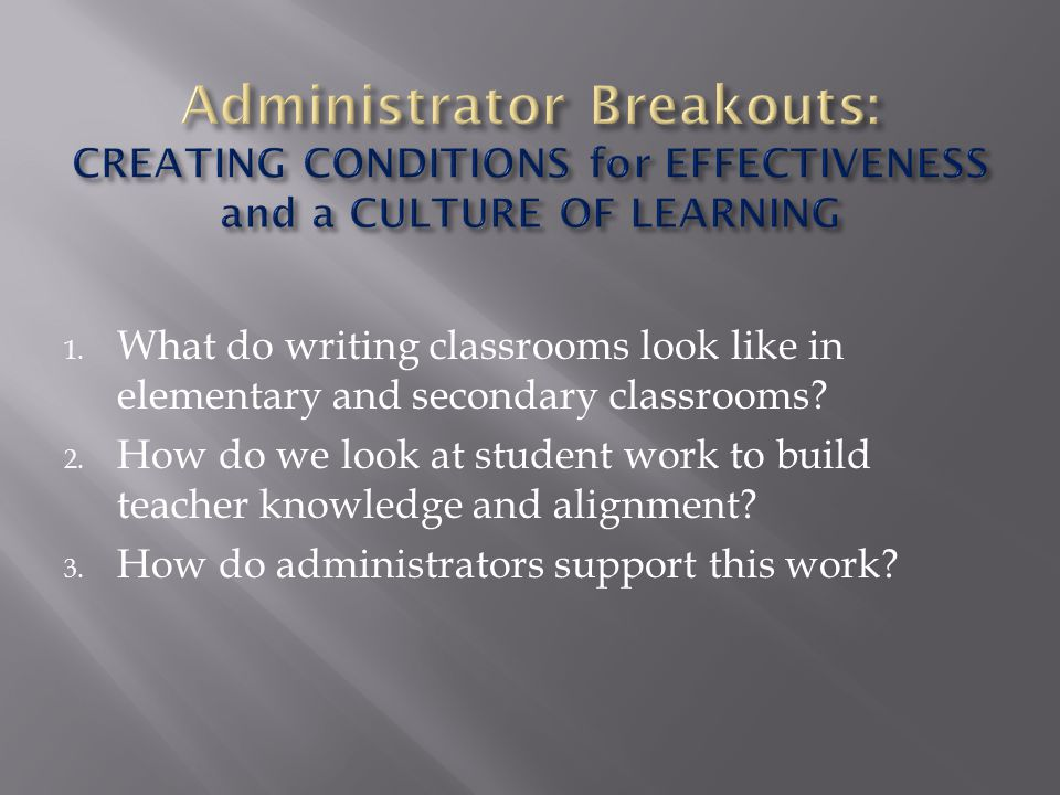 Administrator Breakouts: CREATING CONDITIONS for EFFECTIVENESS and a CULTURE OF LEARNING