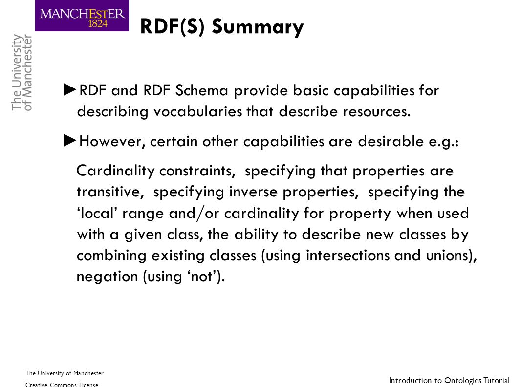 RDF(S) Summary RDF and RDF Schema provide basic capabilities for describing vocabularies that describe resources.