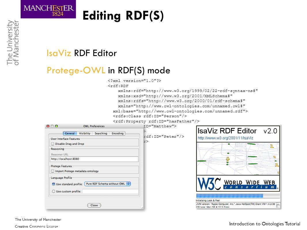 Editing RDF(S) IsaViz RDF Editor Protege-OWL in RDF(S) mode
