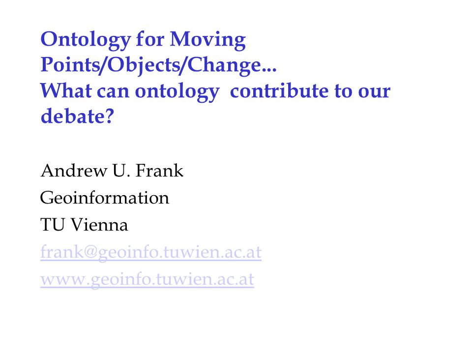 Ontology for Moving Points/Objects/Change