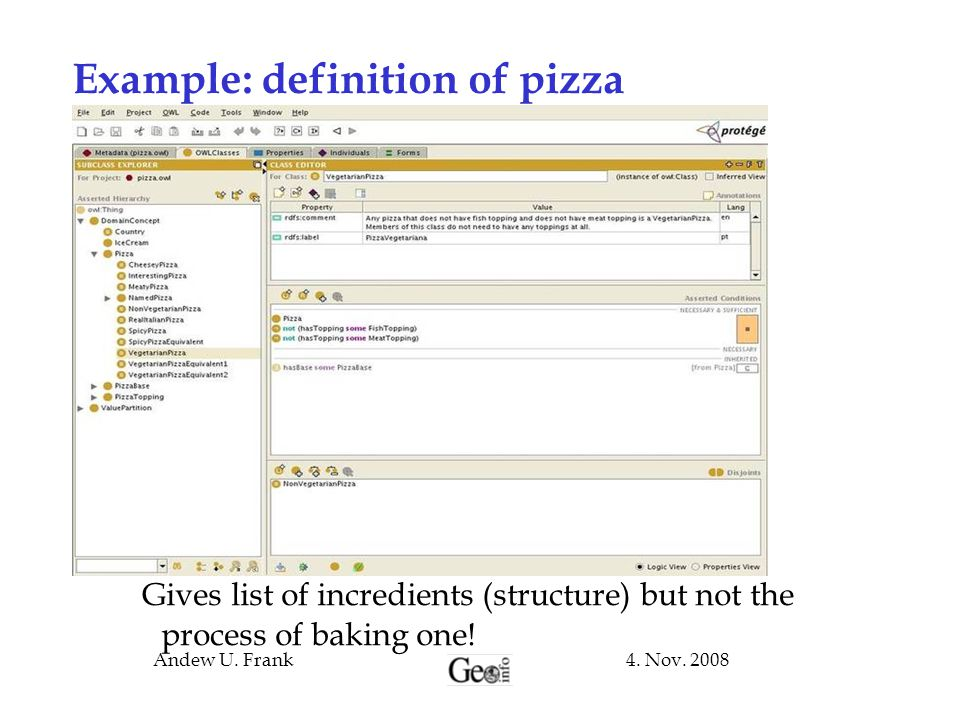 Example: definition of pizza