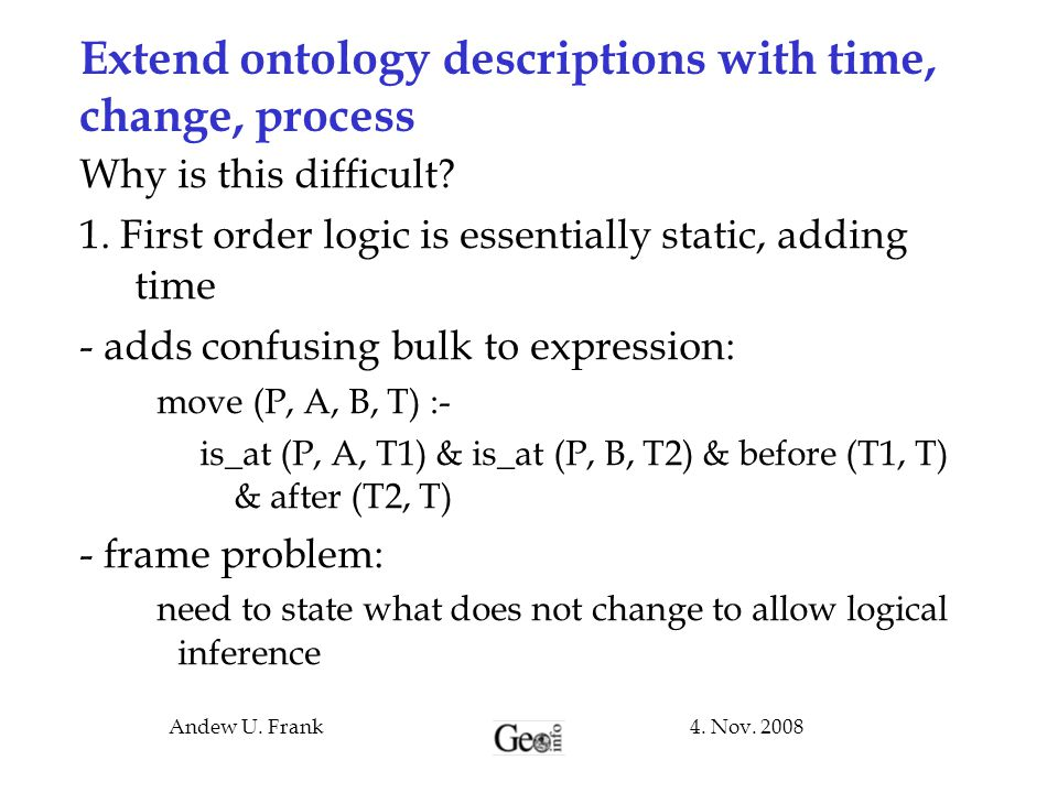Extend ontology descriptions with time, change, process