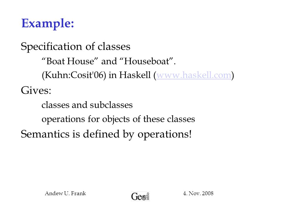 Example: Specification of classes Gives: