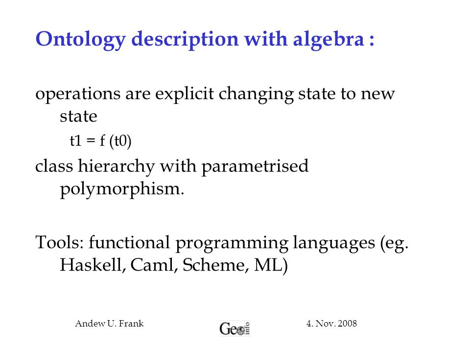 Ontology description with algebra :