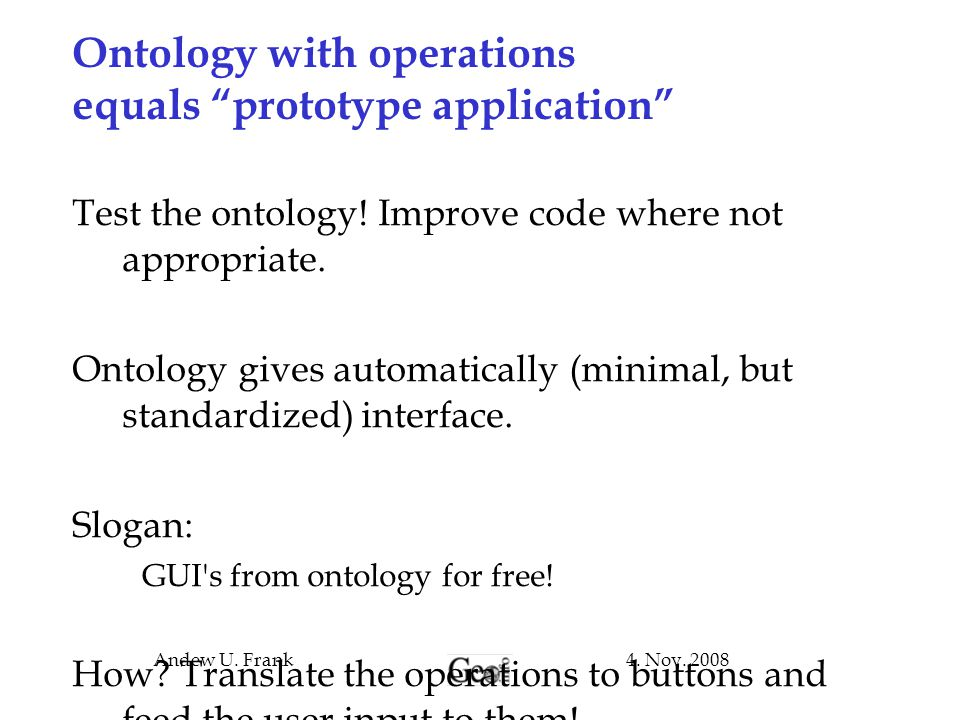 Ontology with operations equals prototype application