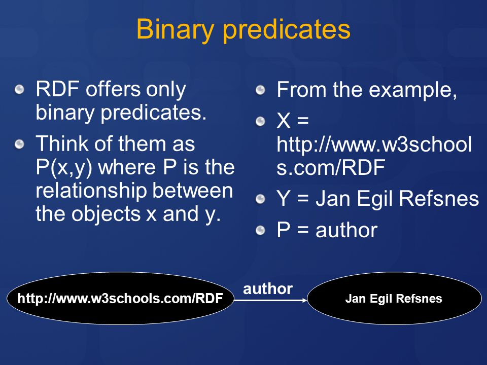 Binary predicates RDF offers only binary predicates. From the example,