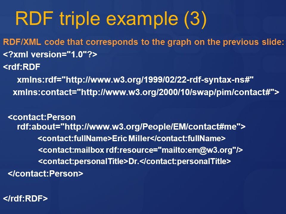 RDF triple example (3) RDF/XML code that corresponds to the graph on the previous slide: < xml version= 1.0 >