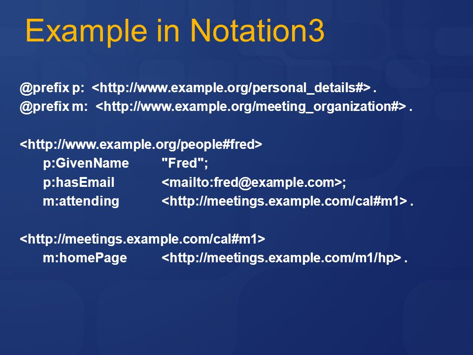 Example in Notation3 @prefix p: <http://www.example.org/personal_details#> . @prefix m: <http://www.example.org/meeting_organization#> .