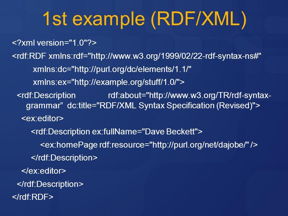 1st example (RDF/XML) < xml version= 1.0 >