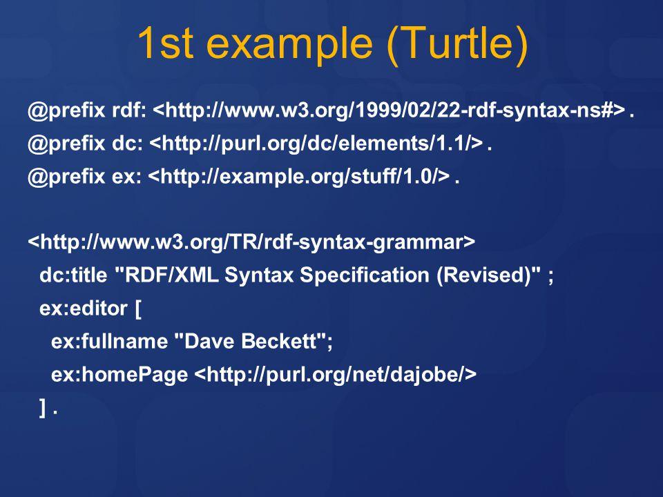 4/11/2017 6:03 PM 1st example (Turtle) @prefix rdf: <http://www.w3.org/1999/02/22-rdf-syntax-ns#> .