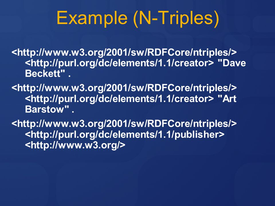 Example (N-Triples) <http://www.w3.org/2001/sw/RDFCore/ntriples/> <http://purl.org/dc/elements/1.1/creator> Dave Beckett .
